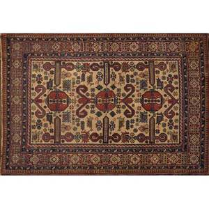 Caucasian area rug red ground with all over floral design 20th c 57 x 41