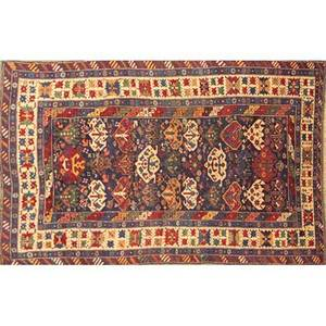 Caucasian area rug blue center with geometric motifs early 20th c 76 x 52