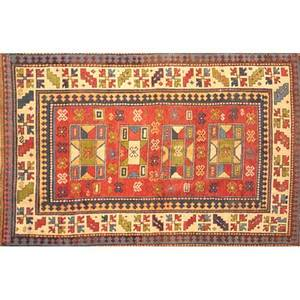 Caucasian area rug red center with geometric motifs early 20th c 84 x 56
