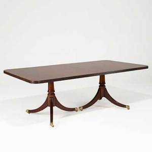 Double pedestal dining table mahogany with banded inlay and two 21 leaves 20th c 29 x 83 12 x 44 12