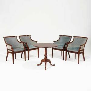 Set of regency armchairs four with mahogany frames and velvet upholstery together with cherry tilttop table all late 20th c 33 12 x 23 12 x 27