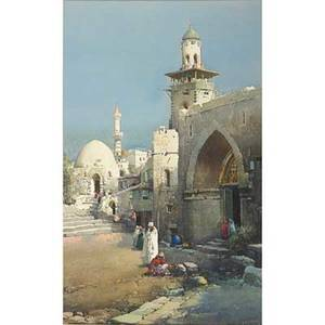Noel harry leaver american 18891951 watercolor on paper minarets of tetuan framed signed and titled 18 x 11 sight exhibition harlow mcdonald  co new york