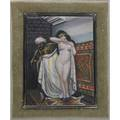 Frederick w walther germanamerican 18951975 miniature enamel on copper of a harem scene framed unsigned 3 x 4 sight