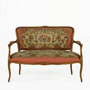 Louis xv style settee gilded frame with floral needlework upholstery 20th c 34 x 47 x 27