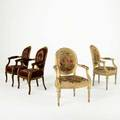Two pair of louis xvi armchairs mixed woods with gilt decoration and floral needlework upholstery 20th c larger 38 x 24 x 24