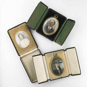 Portrait miniatures three on ivory in gold plated frames 19th20th c largest 4 x 2 12