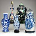 Chinese porcelain vase group five vases 19th20th c blue and white famille noir and imari all drilled for lamp mounting tallest 20 12