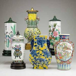 Chinese porcelain vase group six all drilled or mounted as lamps 19th20th c tallest 16 12