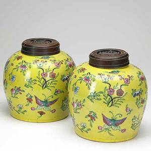 Pair of chinese porcelain ginger jars floral and animal decoration on yellow ground 19th20th c 9