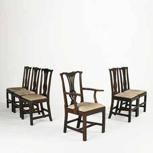 Six english chippendale dining chairs assembled set in oak with upholstered seats 18th c armchair 37 x 23 x 20