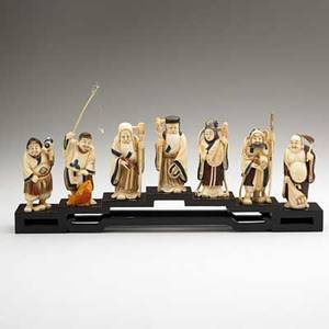 Chinese ivory figures seven immortals with polychrome decoration 19th20th c tallest 6 12
