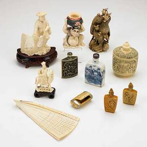 Asian ivory figures and snuff bottles eleven items 19th20th c some signed tallest 5 14