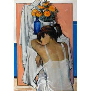 Jesus mecko casaus spanish 19262002 two oil on canvas paintings depicting a woman resting and a mother and child framed signed each 37 x 27