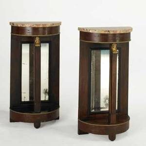 Pair of french pier tables mahogany with mirrored backs marble tops and dore bronze figural mounts 19th c 36 12 x 19 x 9 12