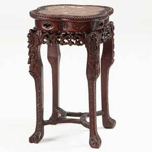 Chinese tabouret teak with marble insert and stretcher base late 19th c 27 12 x 16 12 sq