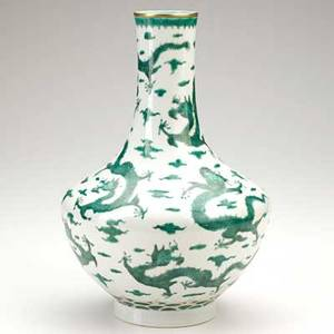 Chinese porcelain vase nine dragon decoration 19th c marked 12