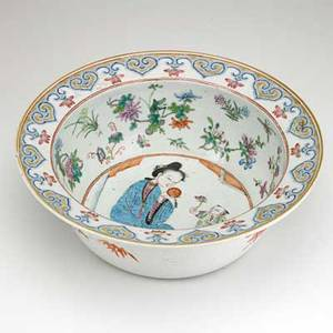 Chinese porcelain bowl decorated with polychrome figures and flowers 19th c 5 x 13 34 dia
