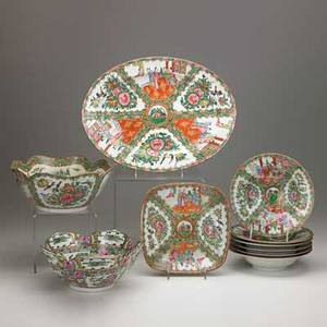 Chinese rose medallion group ten items 20th c six soup bowls oval platter two serving bowls and square platter largest 16 x 12
