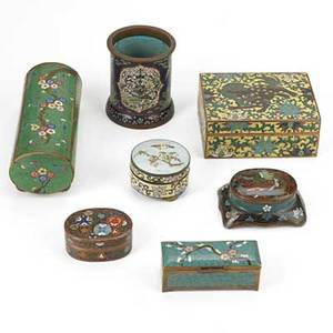 Asian cloisonne group six covered boxes and one pencil holder 20th c largest 3 12