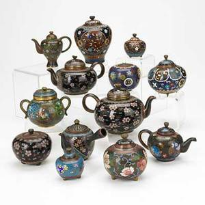 Miniature cloisonne group thirteen items include five teapots and eight koros 19th20th c largest 4 x 6 x 4