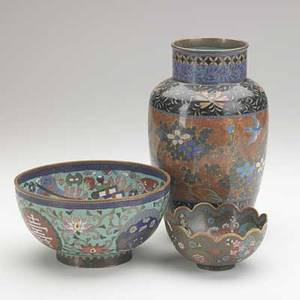 Asian cloisonne group three items early 20th c two bowls and vase with floral decoration bowls signed tallest 9 34