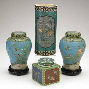 Asian cloisonne on porcelain four items 19th20th c pair of ginger jars with flowers and butterfly cylindrical vase with floral decoration and square lidded vessel some marked tallest 9 34
