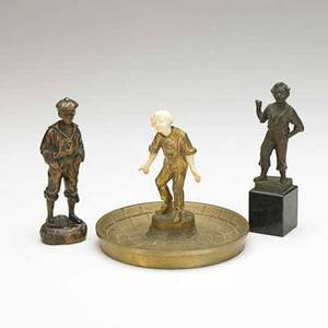 Bronze sculpture group three early 20th c whistler with hands in pocket signed mousse siffler boy with ivory hands and face signed barthelmy and boy on marble base signed m bauer tallest 6