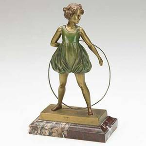 Ferdinand preiss german 18821943 coldpainted bronze on marble base hoop girl 20th c signed 8 x 4 34 x 3 literature illustrated in art deco and other figures by bryan catley