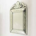 Venetian mirror etched floral decoration 20th c 51 x 32