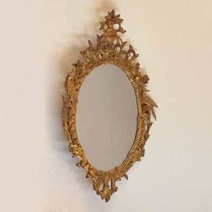 Venetian mirror carved and gilded frame 19th c 49 x 29