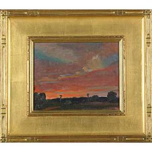 Roscoe clarence magill american 18811950 oil on board sunset and evening star 1938 framed signed titled and dated 8 x 10