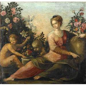 European mural section oil on canvas with classical figures among flowers and urns 19th c framed 32 14 x 34