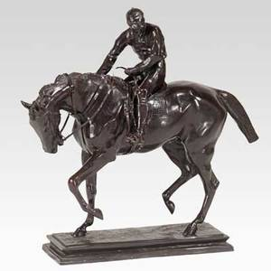 Bronze sculpture jockey on horseback mounted on bronze base 20th c no visible signature 35 12 x 40 12 x 11