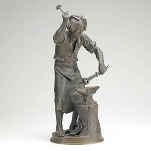 Adrien etienne gaudez french 18451902 bronze sculpture ferronnier de xvii siecle signed gaudez 18
