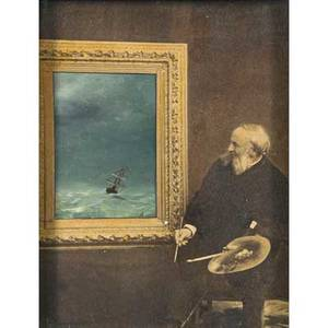 Ivan constantinovich aivazovsky russian 18171900 mixed media with oil on photograph mounted on panel of the artists selfportrait painting a seascape framed signed 12 x 9 note a postca