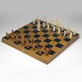 Asian ivory chess set in fitted case with chessboard box 20th c 24 x 12 x 4 14