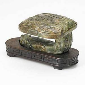 Spinach jade ruyi sceptre head on wood stand 20th c 3 12 x 6 with stand