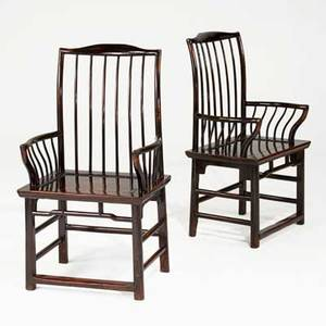Pair of chinese yoke back armchairs dark mahogany finish 19th20th c 47 x 24 x 20