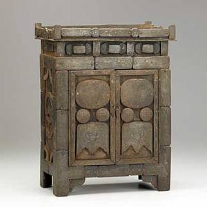 Chinese iron chest applied panels with extensive silver inlay in the form of a stylized bat 19th c 15 x 11 12 x 6 12