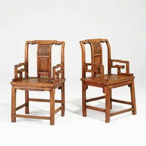 Pair of antique chinese chairs hardwood construction 19th c 39 x 22 x 18