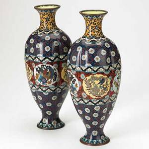 Pair of chinese cloisonne vases decorated with dragons on red and blue ground early 20th c 12