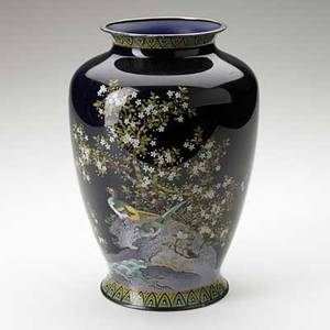 Japanese cloisonne vase with bird and floral decoration on black ground early 20th c drilled for mounting as lamp 10