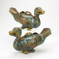 Pair of chinese cloisonne ducks incense burners kneeling position 19th20th c 7 34 x 11 12 x 5 12