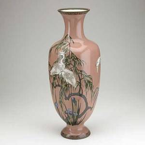 Japanese cloisonne palace vase foliate decoration with cranes early 20th c 23 12
