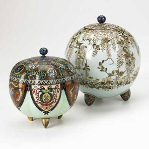 Two asian cloisonne koros one with heavy foliate decoration the other with goldstone panels early 20th c 7 x 5 34