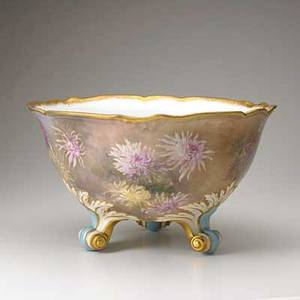 Limoges footed punch bowl with handpainted aster decoration 20th c marked 9 12 x 16