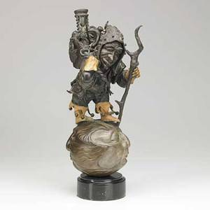 Ja pippett american 20th c bronze sculpture time bandit on marble base unsigned 19 x 9 x 6