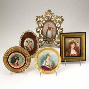 Limoges etc five handpainted plaques 19th20th c four busts of women and one full length portrait of a serving woman one marked limoges largest 11 x 8