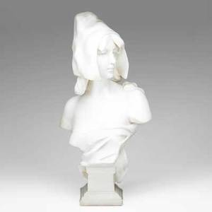 Emmanuel villanis french 18581914 marble sculpture of a young woman with cap signed e villanis 26