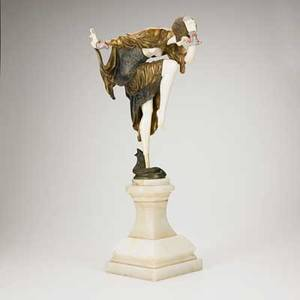 After claire colinet french 18801950 coldpainted bronze and ivory figure ankara dancer on white marble base 20th c signed 26 12